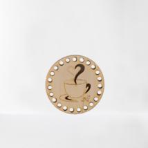 Mosolygó kávés ébredés horgolható fa alap