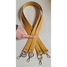 Karabinerrel rögzíthető 102 cm hosszú táskafül, Mustár sárga színben