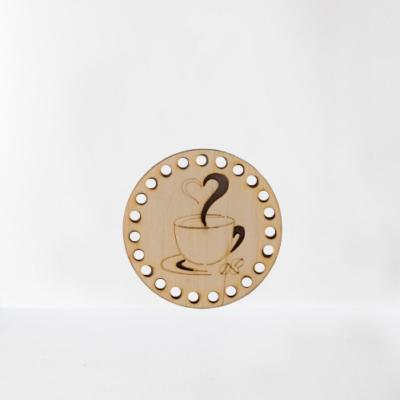 Kávés horgolható fa alap