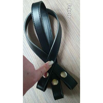 50 cm hosszú, szintetikus bőrből készült patentos táskafül - fekete -