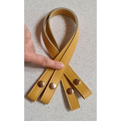 50 cm szintetikus bőrből patentos táskafül, mustár sárga