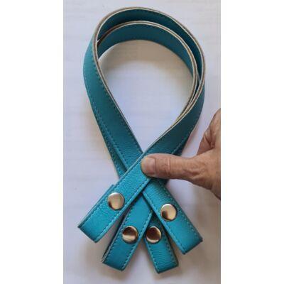 50 cm szintetikus bőrből pantetos táskafül, azúr kék -