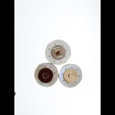 3 cm átmérővel rendelkező, felvarrható, mágneses patentos táskazár - fehér -