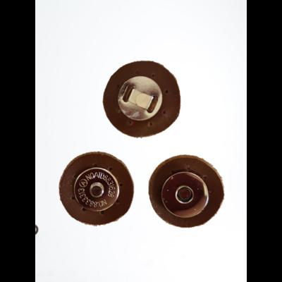3 cm átmérővel rendelkező, felvarrható, mágneses patentos táskazár - barna -