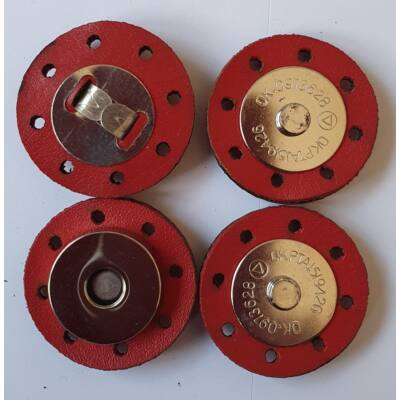 3 cm átmérővel rendelkező, felvarrható, mágneses patentos táskazár - tűzpiros -