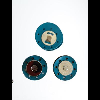 3 cm átmérővel rendelkező, felvarrható, mágneses patentos táskazár - tűrkizkék -