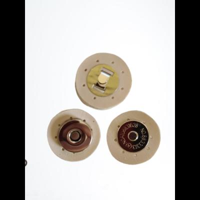 3 cm átmérővel rendelkező, felvarrható, mágneses patentos táskazár - krém -