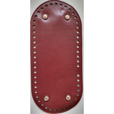 26 * 12 cm bőr ovális táska alja, 6 mm lyukmérettel, bordó