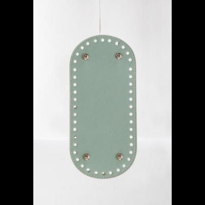 26 * 12 cm bőr ovális táska alja, 6 mm lyukmérettel, menta zöld