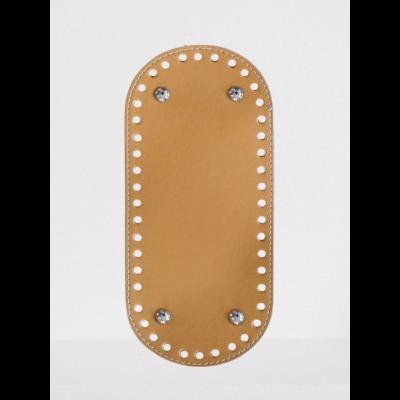 26 * 12 cm bőr ovális táska alja, 6 mm lyukmérettel, mustár sárga