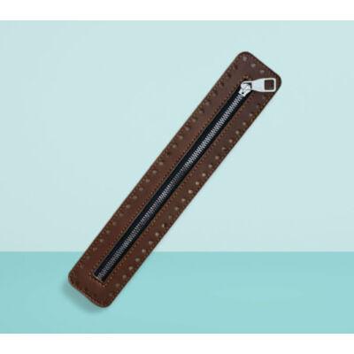 30 cm hosszú, 5 cm széles cipzár - barna -  színben -