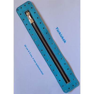 30 cm hosszú, 5 cm széles cipzár - türkizkék - színben -